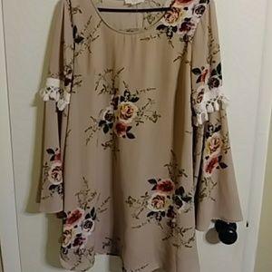 Entro tan long sleeve boho style dress
